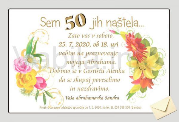 Vabila za rojstni dan 50 let Abrahama - komplet 10 vabil za Abrahama + kuverte - 091