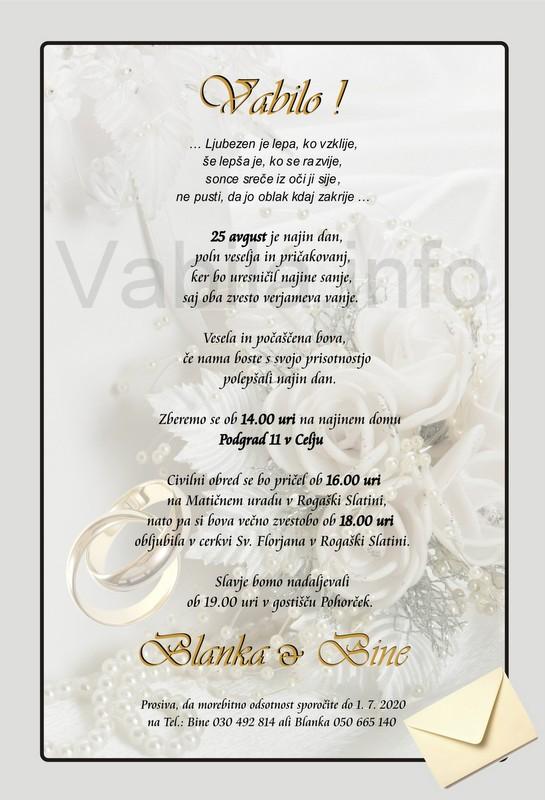 Vabila za poroko – komplet 10 Poročnih vabil + kuverte - 001