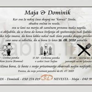 Vabila za poroko - komplet 10 Poročnih vabil + kuverte - 002