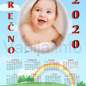 Mali otroški koledarji za Božič - Novo leto - komplet 10 otroških koledarjev + kuverte - 086