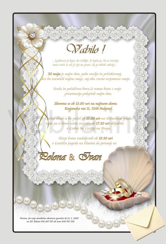 Vabila za Poroko – komplet 10 Poročnih vabil + kuverte - 154