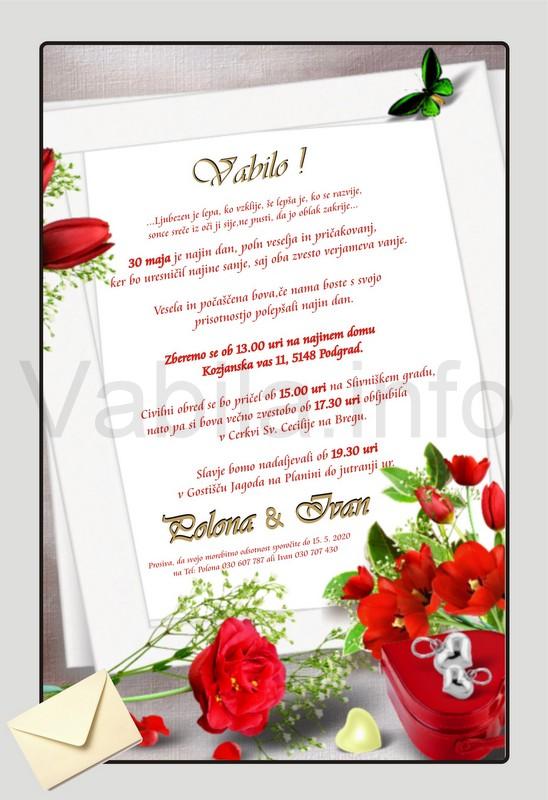 Vabila za Poroko – komplet 10 Poročnih vabil + kuverte - 153