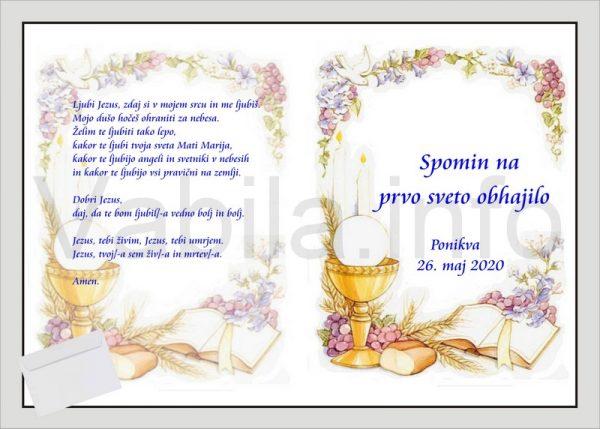 Zahvale za PRVO SVETO OBHAJILO - komplet 10 zahval - 196