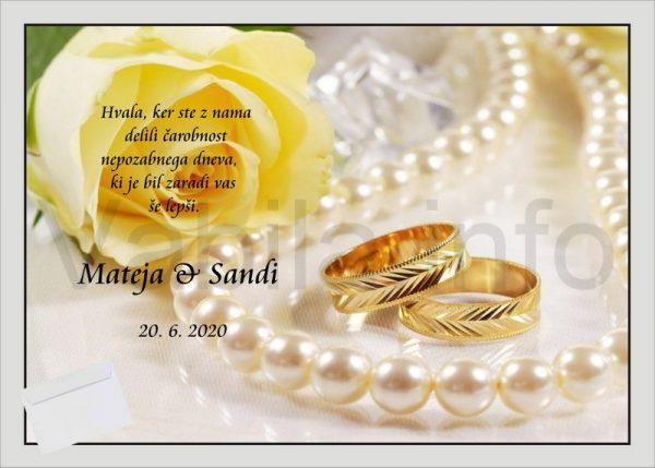 Zahvale za Poroko – komplet 10 Poročnih zahval + kuverte – 171