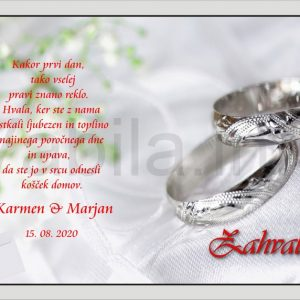 Zahvale za Poroko – komplet 10 Poročnih zahval + kuverte – 172