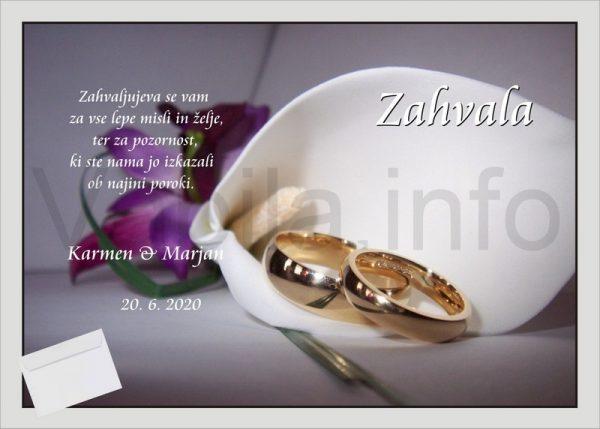 Zahvale za Poroko – komplet 10 Poročnih zahval + kuverte – 183