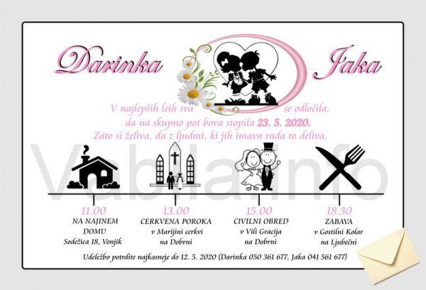 Vabila za poroko - komplet 10 Poročnih vabil + kuverte - 199