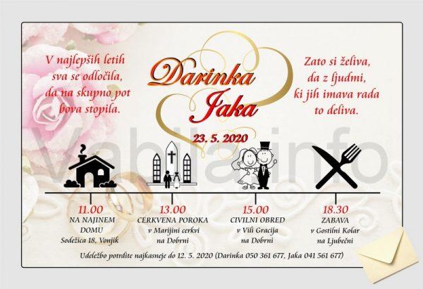 Vabila za poroko - komplet 10 Poročnih vabil + kuverte - 201
