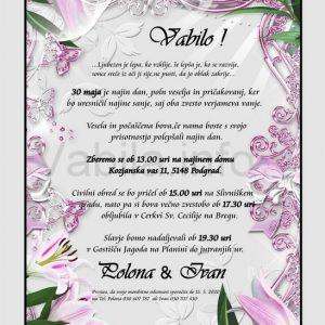 Vabila za poroko - komplet 10 Poročnih vabil + kuverte - 210