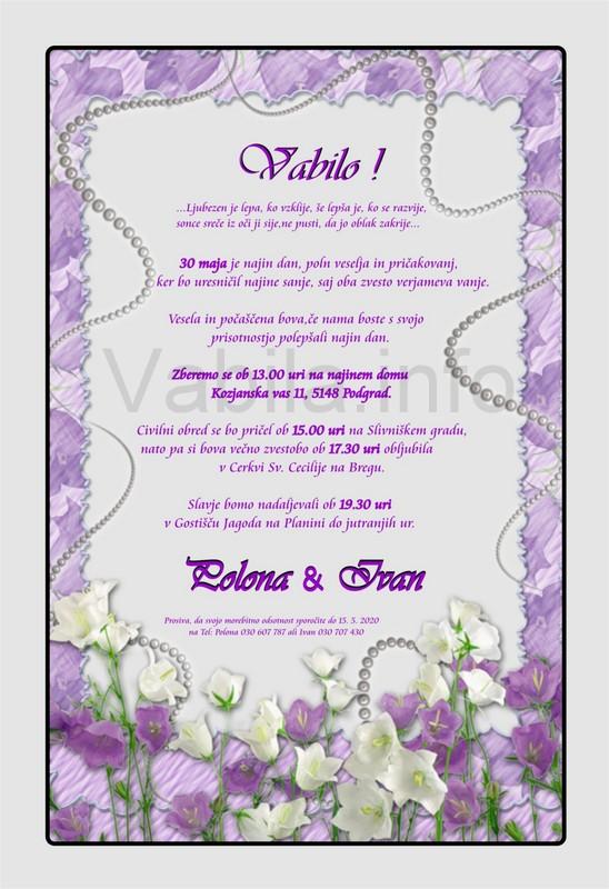Vabila za poroko - komplet 10 Poročnih vabil + kuverte - 211