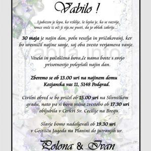 Vabila za poroko - komplet 10 Poročnih vabil + kuverte - 214