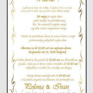 Vabila za poroko - komplet 10 Poročnih vabil + kuverte - 215