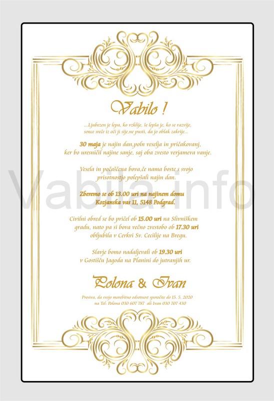 Vabila za poroko - komplet 10 Poročnih vabil + kuverte - 220