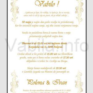 Vabila za poroko - komplet 10 Poročnih vabil + kuverte - 221