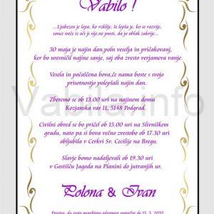 Vabila za poroko - komplet 10 Poročnih vabil + kuverte - 222