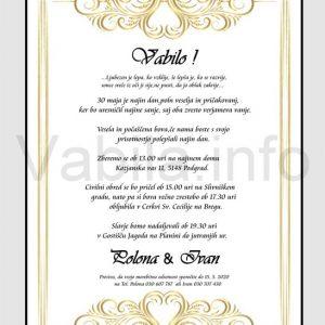 Vabila za poroko - komplet 10 Poročnih vabil + kuverte - 224