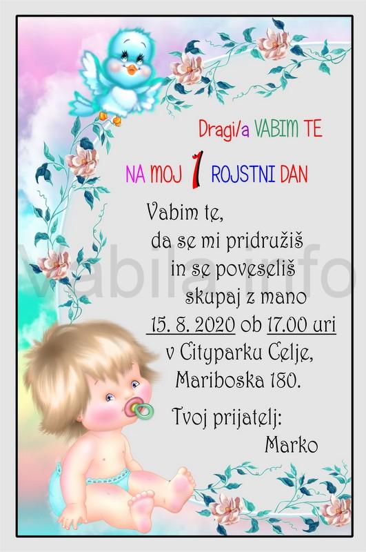 Otroška vabila za 1 rojstni dan – komplet 10 otroških vabil + kuverte - 405