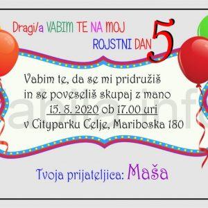 Otroška vabila za 5 rojstni dan – komplet 10 otroških vabil + kuverte - 413