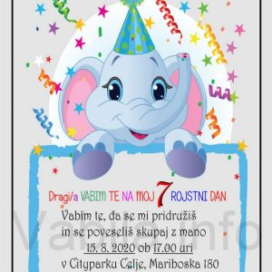 Otroška vabila za 7 rojstni dan – komplet 10 otroških vabil + kuverte - 418