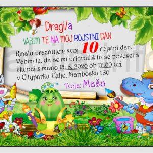 Otroška vabila za 10 rojstni dan – komplet 10 otroških vabil + kuverte - 423