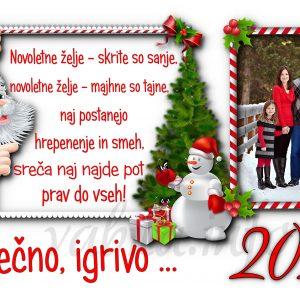 Voščilnice otroške - družinske 2021 - 20?? za Božič - Novo leto - komplet 10 otroških voščilnic + kuverte - 463