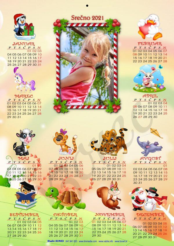 Veliki otroški koledar 2021 za Božič - Novo leto + kuverta - 462
