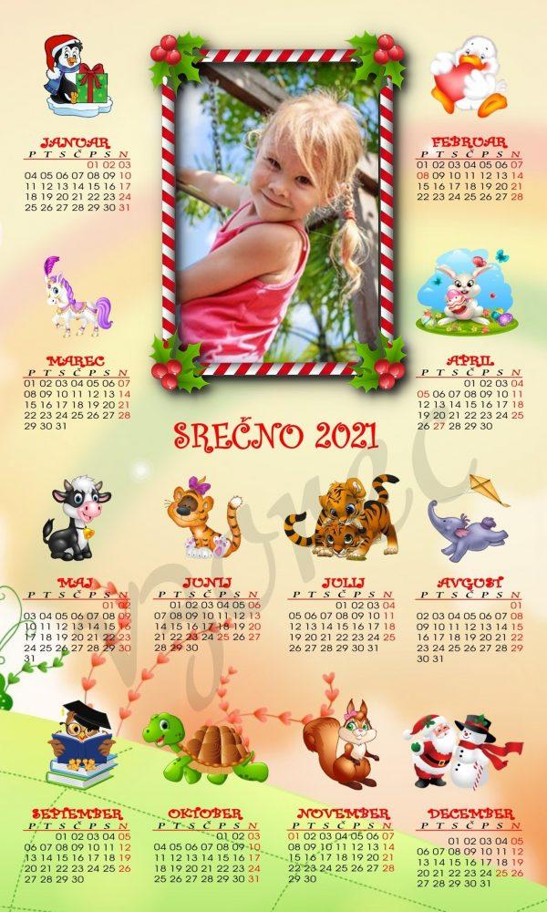 Mali otroški koledarji 2021 za Božič - Novo leto - komplet 10 otroških koledarjev + kuverte - 460