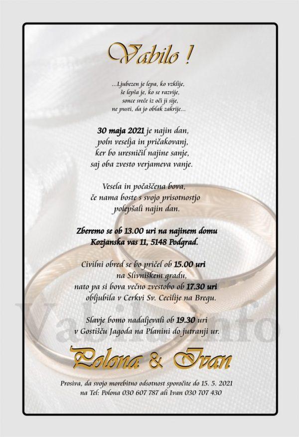 Vabila za poroko – komplet 10 Poročnih vabil + kuverte - 490