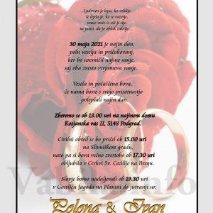 Vabila za poroko – komplet 10 Poročnih vabil + kuverte - 492