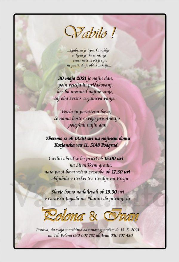 Vabila za poroko – komplet 10 Poročnih vabil + kuverte - 493