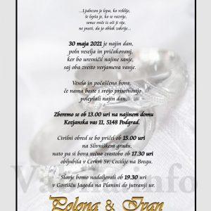 Vabila za poroko – komplet 10 Poročnih vabil + kuverte - 497