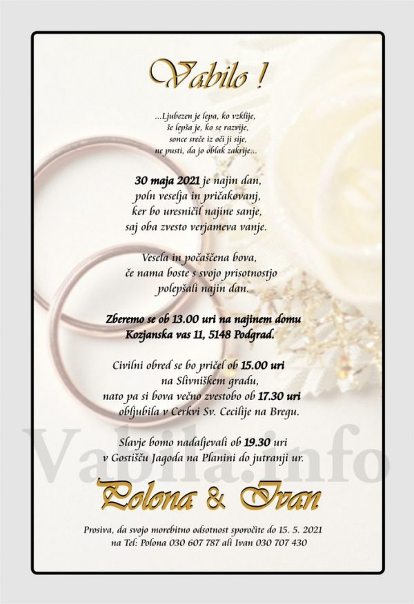 Vabila za poroko – komplet 10 Poročnih vabil + kuverte - 498