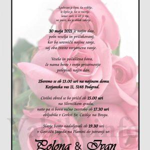 Vabila za poroko – komplet 10 Poročnih vabil + kuverte - 499
