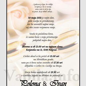 Vabila za poroko – komplet 10 Poročnih vabil + kuverte - 502