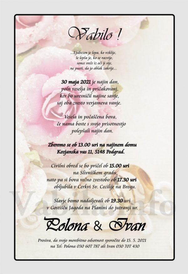 Vabila za poroko – komplet 10 Poročnih vabil + kuverte - 504