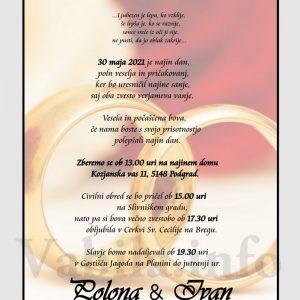 Vabila za poroko – komplet 10 Poročnih vabil + kuverte - 508