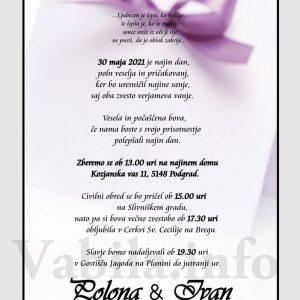 Vabila za poroko – komplet 10 Poročnih vabil + kuverte - 509