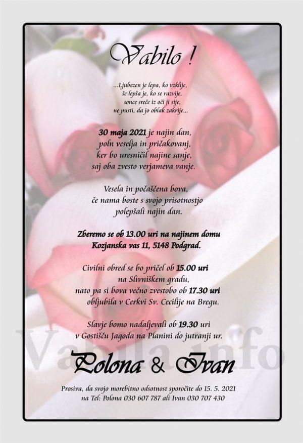 Vabila za poroko – komplet 10 Poročnih vabil + kuverte - 513
