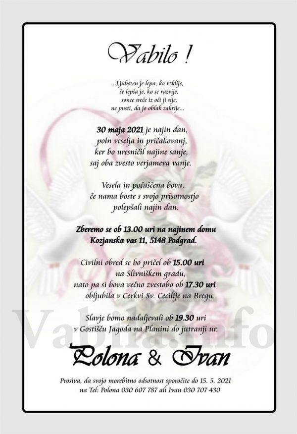 Vabila za poroko – komplet 10 Poročnih vabil + kuverte - 518