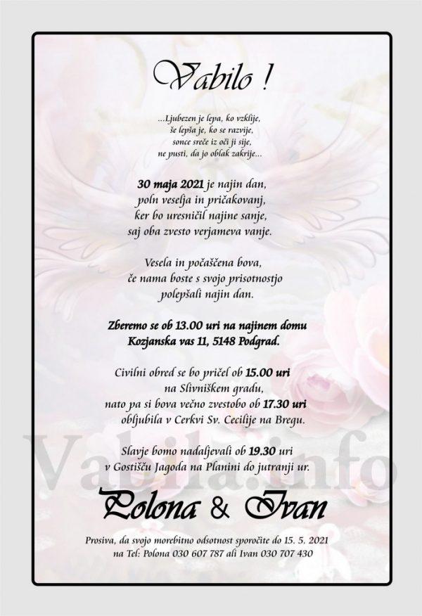 Vabila za poroko – komplet 10 Poročnih vabil + kuverte - 519