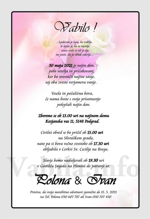 Vabila za poroko – komplet 10 Poročnih vabil + kuverte - 521