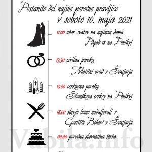 Vabila za poroko – komplet 10 Poročnih vabil + kuverte - 522