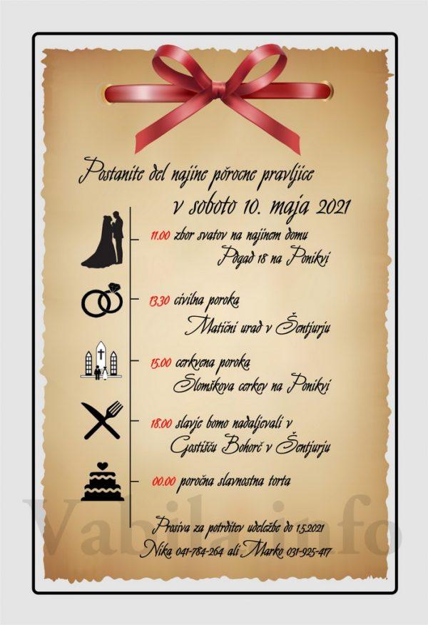 Vabila za poroko – komplet 10 Poročnih vabil + kuverte - 525