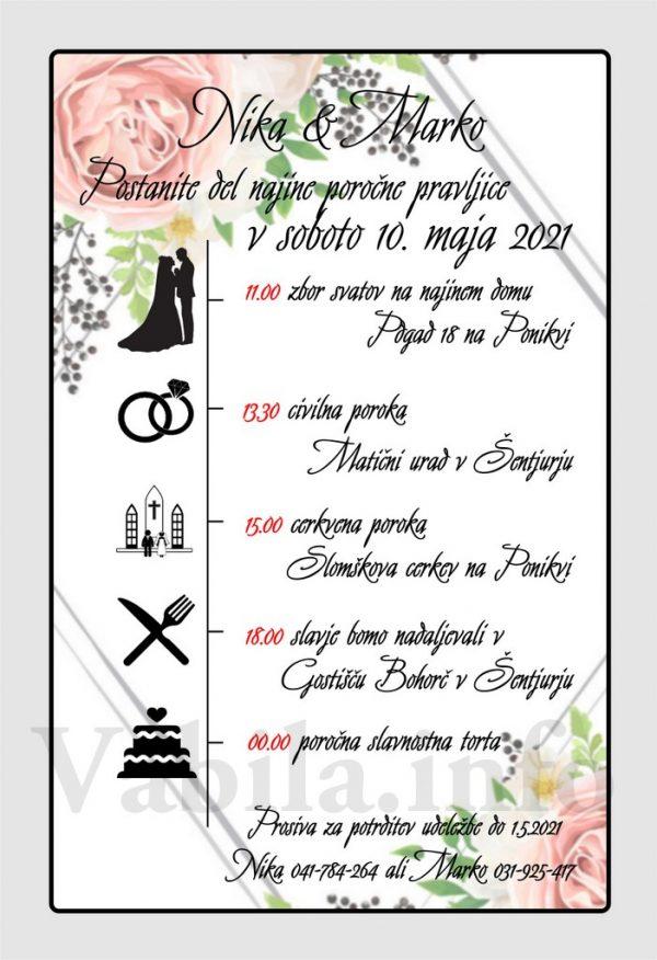 Vabila za poroko – komplet 10 Poročnih vabil + kuverte - 526