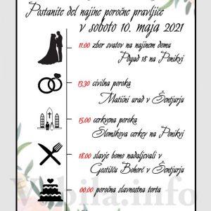 Vabila za poroko – komplet 10 Poročnih vabil + kuverte - 527