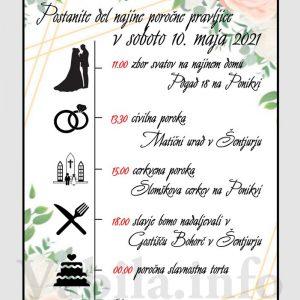 Vabila za poroko – komplet 10 Poročnih vabil + kuverte - 528