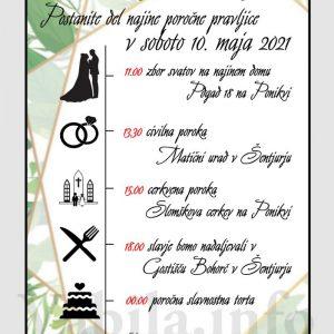 Vabila za poroko – komplet 10 Poročnih vabil + kuverte - 529