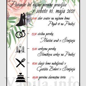 Vabila za poroko – komplet 10 Poročnih vabil + kuverte - 532