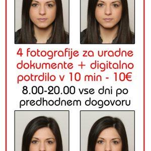 Fotografiranje za dokumente + 4 fotografije + digitalno potrdilo v 10 min = 10€